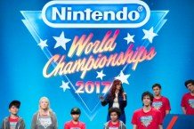 In this photo provided by Nintendo of America, host Andrea Rene welcomes attendees to the Nintendo World Championships 2017 finals at the Manhattan Center in New York, NY. (Photo: Business Wire)