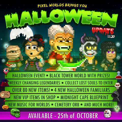 Pixel Worlds Halloween Update Features Developers Dressing Up and Running Amok in-Game