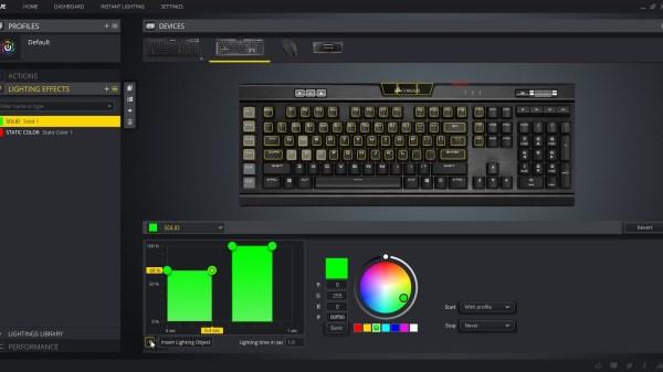 Corsair's K95 RGB Platinum XT software