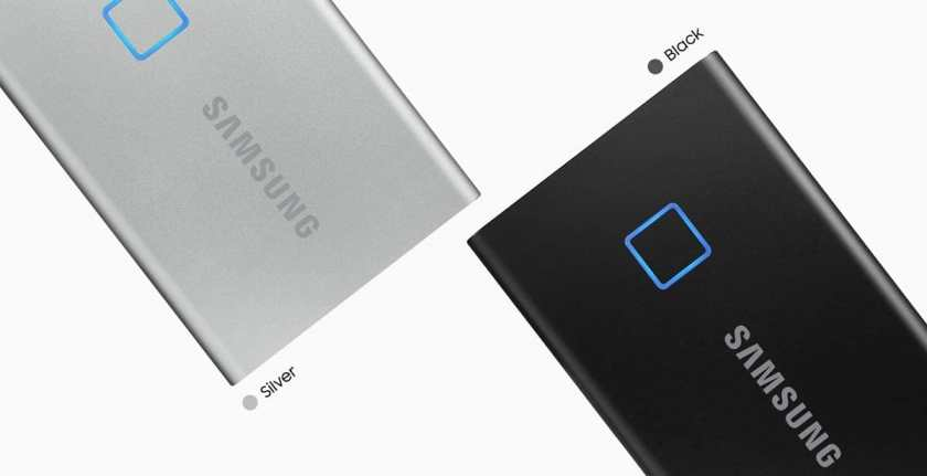 SAMSUNG T7 Touch Portable SSD black and White Colors