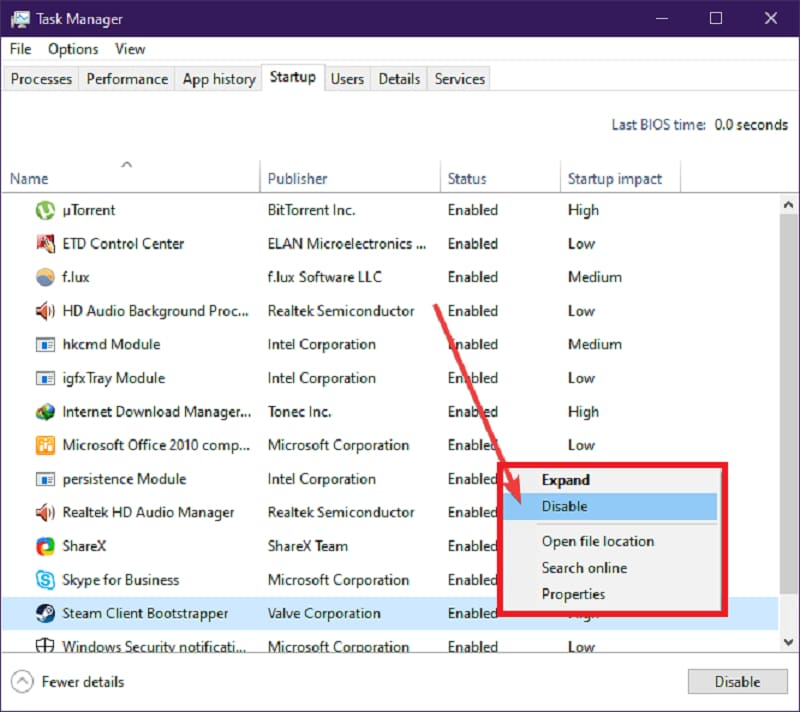 Disabling Steam Auto-Startup Using Task Manager