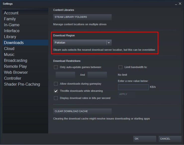 change steam server region