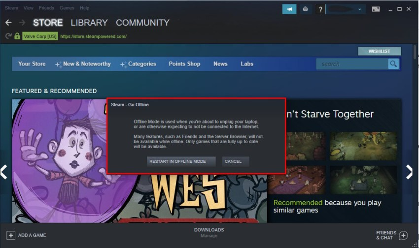 go offline in steam app