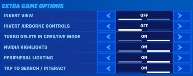 fortnite extra game options