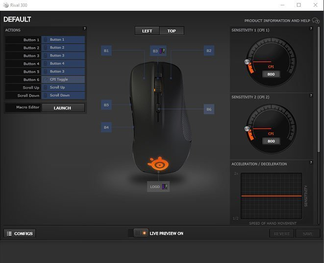 Rival 300 DPI and Polling Rate