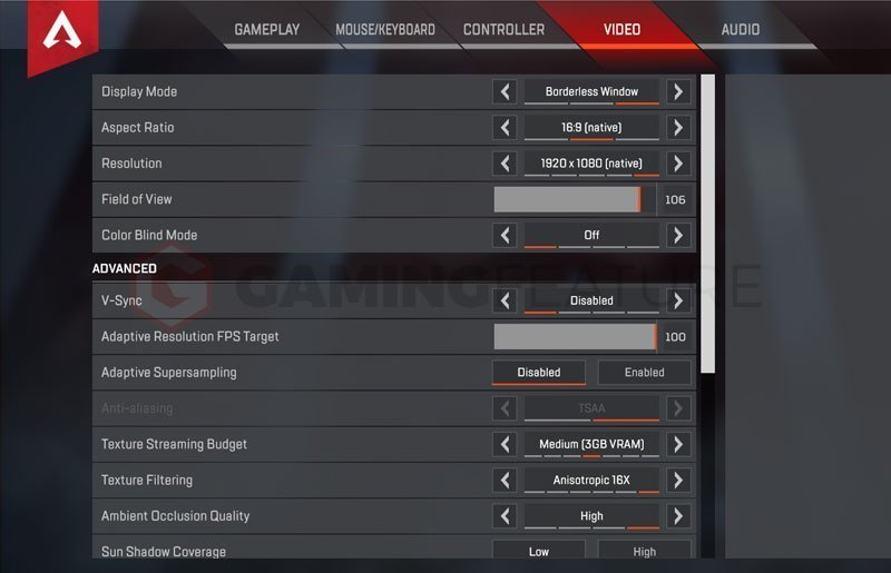 Seagull Apex Legends Settings