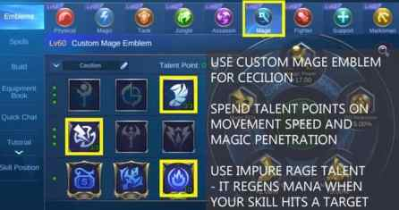 Mobile Legends Cecilion Emblem mage
