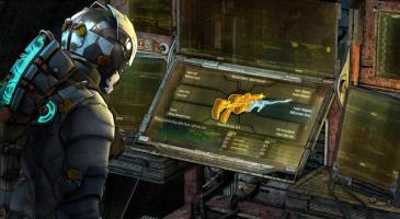 Dead Space 3 Isaac at in-game upgrade bench