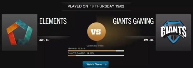 League of Legends Elements vs Giants