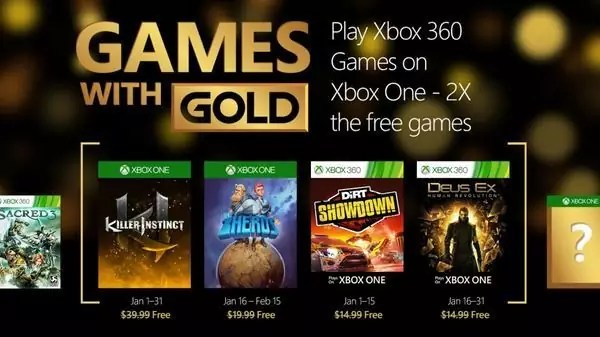 Games with Gold gennaio 2016
