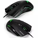 Combaterwing CW10 4800 dpi Wired Gaming Mouse Mice 7 LED colores cambiantes respiraci¨®n dise?o 6 botones de alta precisi¨®n para Gamer PC MAC(Negro)