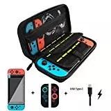 Custodia per Nintendo Switch, Case Rigido da Viaggio Versione Aggiornata con Nintendo Switch Pellicola Protettiva, Custodia Silicone Nintendo Switch, Cavo di ricarica di Tipo C