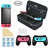 iAmer 6 in 1 Kit di accessori per Nintendo Switch, Nintendo Switch Custodia per il Trasporto +2 Grip per Nintendo Switch Joy-Con+ 3 Pellicole Protettive