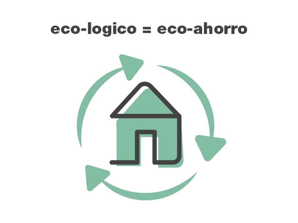 Casa Geopannel de color verde y con flechas circulares que le dan toda la vuelta a la imagen.