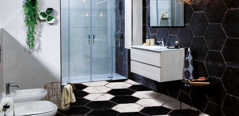 baldosa hexagonal, ideas baldosas en el baño, baldosa hexagonal en el baño