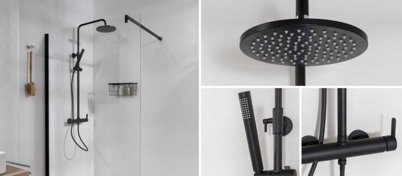 accesorios de baño negros, tendencias baños, baños negros