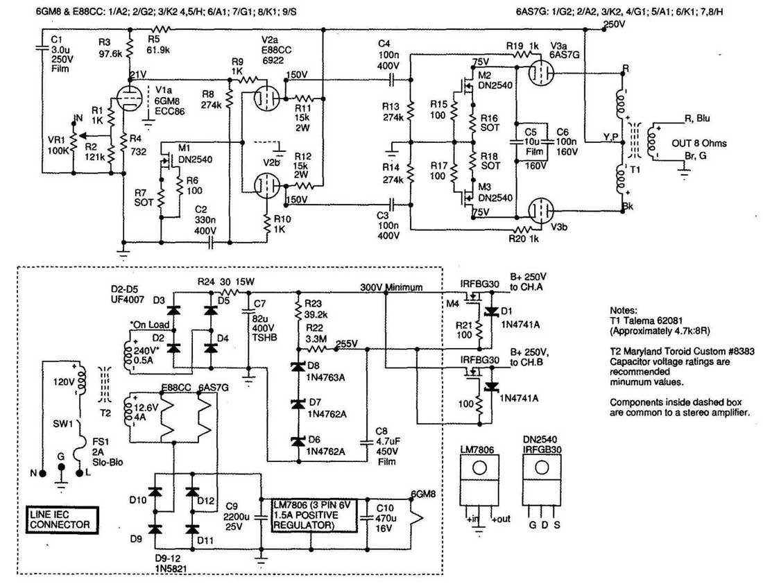 6a87 Current Balanced Push Pull Vacuum Tube Amplifier