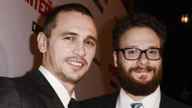 James Franco e Seth Rogen, alla presentazione di The Interview