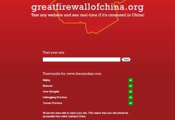 Su greatfirewallofchina verifichi lo stato di un sito web in Cina