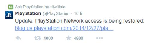 """""""L'accesso a PlayStation Network è stato ripristinato"""""""