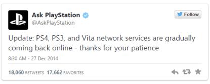 Il tweet di PlayStation che annuncia la fine dell'attacco