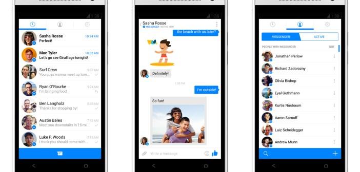 Una delle ultime versioni di Messenger, l'app di Facebook