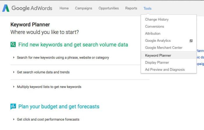 Strumento di Pianificazione parole chiave Google - Gamobu