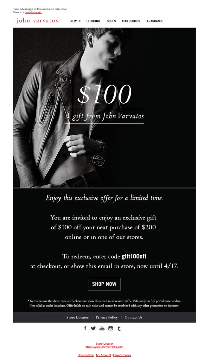 John Varvatos - A Token of Gratitude - Esempio Email Marketing - Gamobu