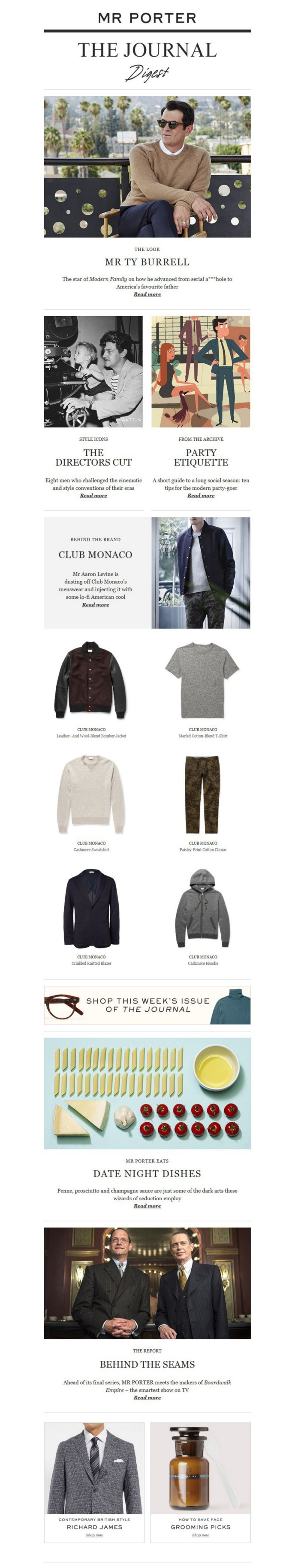 Mr Porter - The Journal (blog) newsletter - Email Marketing - Gamobu