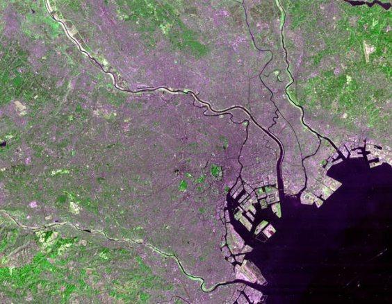Satellite photo of Tokyo's 23 Special wards taken by NASA's Landsat 7