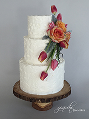 Textured Buttercream Cake with Fresh Flowers
