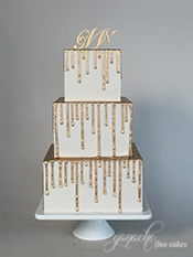 Gold Metallic Drippy Square Wedding Cake