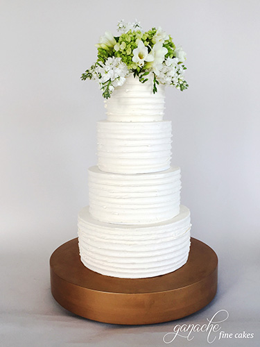 Ruffled Buttercream Wedding Cake With Fresh Flower Topper