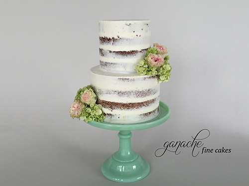 Nearly Naked Cake With Fresh Flowers