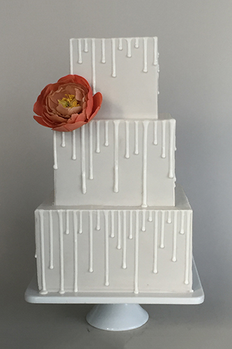 Drippy White Square Wedding Cake With Peony