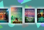 Cztery książki Guillaume Musso na kolorowym tle.