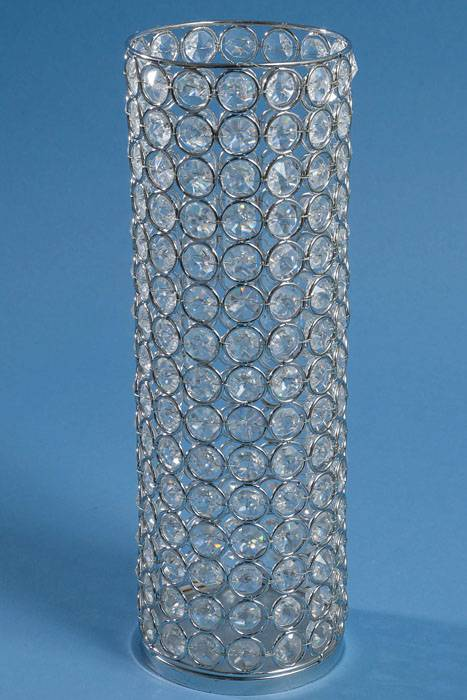 12 X 4 CRYSTAL BEAD CANDLE HOLDER SILVERCLEAR