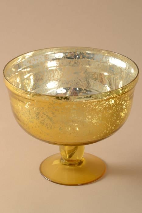 8 X 675 MERCURY GLASS PEDESTAL BOWL GOLD
