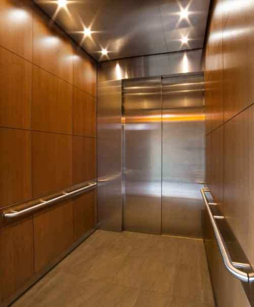G&R Custom Elevtor Cabs Bloomington Central Station Hotel front and rear opening passenger elevator interior, EPIC Solution
