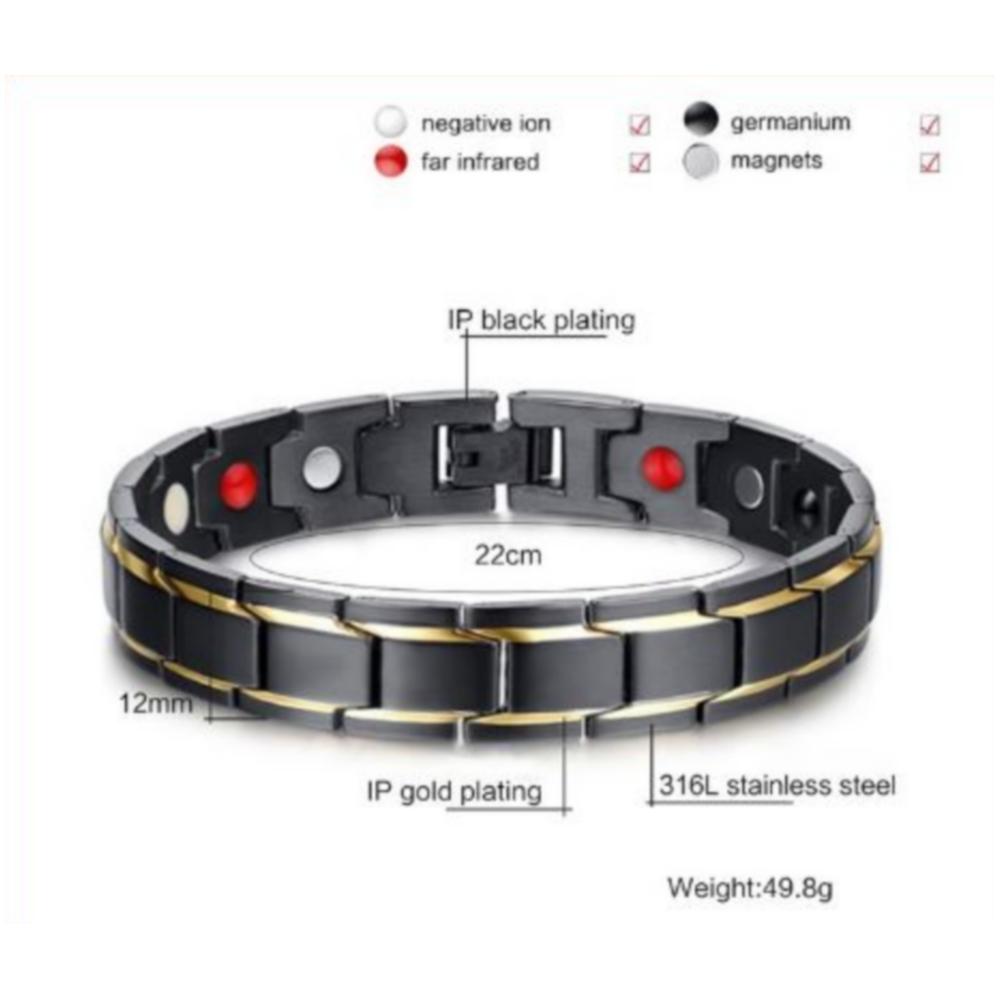 Thérapeutiques de Guérison énergétique Bracelet Titane Acier Thérapie Magnétique Bracelets
