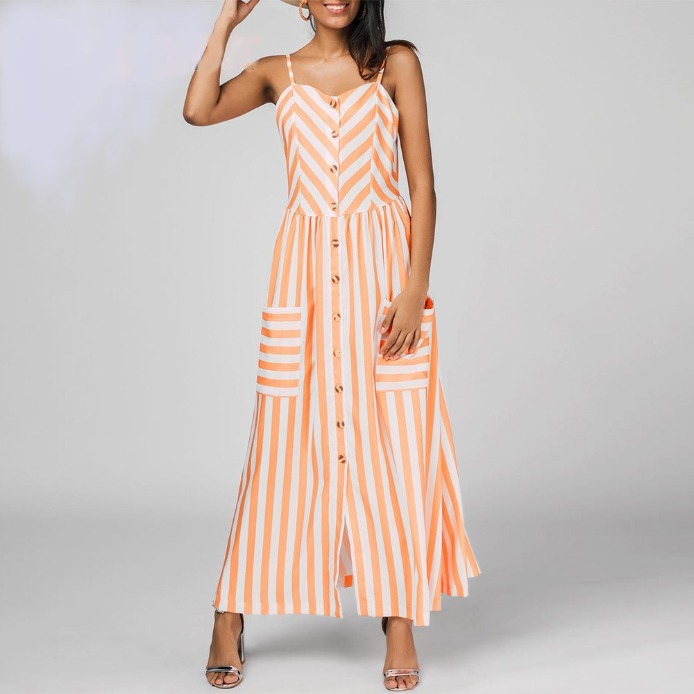 Vestido Largo De Mujer De Estilo Informal Con Rayas