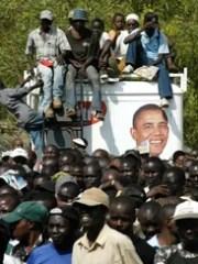 Kenyans gather in Kisumu, Kenya, on Jan. 20, 2009,