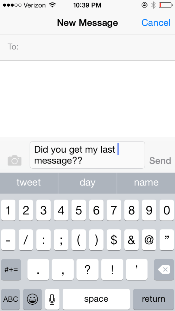 A screenshot from the iMessage app on an Apple iPhone.