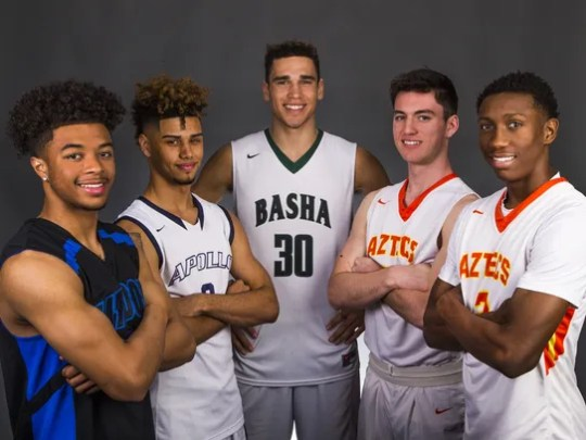 The All-Arizona Boys Basketball Team, from left to