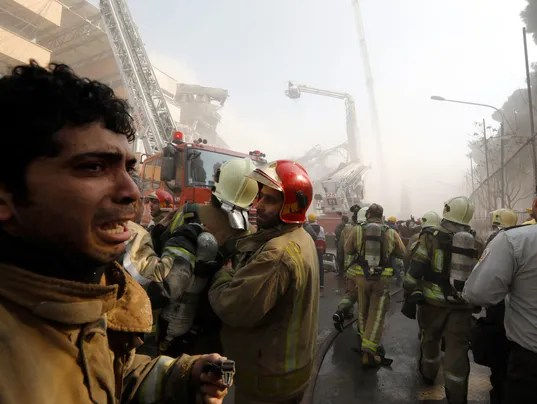 30 firefighters killed in collapse of high-rise in Iran