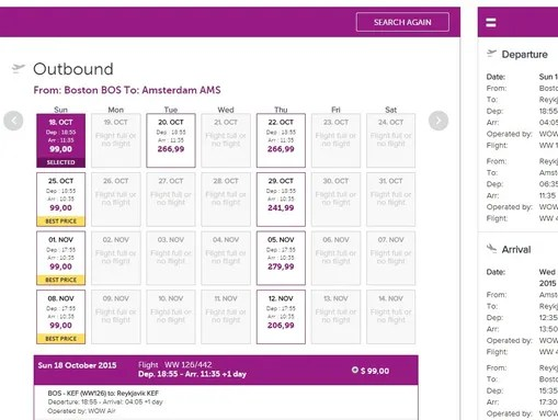 This screenshot of WOW Air's website shows a $348.48