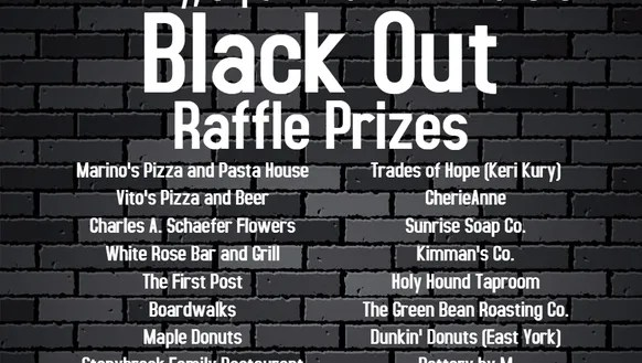 List of local businesses providing raffle prizes for