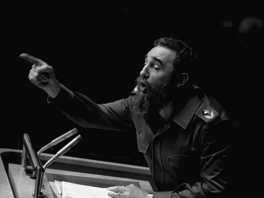 Cuban President Fidel Castro points during his lengthy