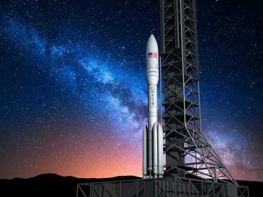 Artist rendering of Northrop Grumman Innovation Systems' OmegA rocket. Northrop acquired Orbital ATK, which began development of the rocket originally referred to as the Next Generation Launch system.