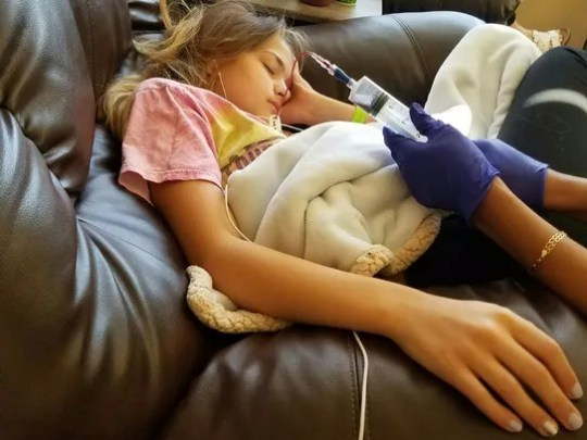 Emilee Cloyd, 13, receiving treatment for Lyme disease